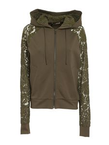 TWINSET - Lace sleeve hoodie in green