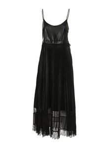 TWINSET - Lace detailed coated fabric dress in black