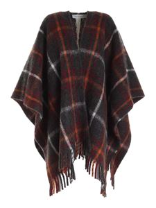 Woolrich - Tartan poncho in gray red and orange