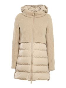 Herno - Nylon and knitted wool padded coat in beige