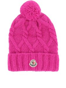 Moncler - Pom pom detailed cable knit beanie in fuchsia