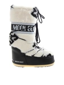 GCDS - Synthetic fur Moon Boot in white and black
