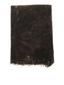Avant Toi - Sunflower printed stole in green and black