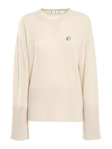 Off-White - Wool and cashmere sweater in white
