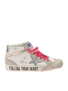 Golden Goose - Mid Star Classic sneakers in white and fuchsia