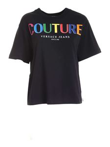 Versace Jeans Couture - Multicolor lettering T-shirt in black