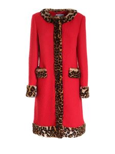 Moschino - Animal print detailed coat in red
