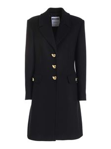 Moschino - Teddy detailed coat in black