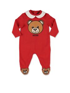 Moschino Kids - Logo printed rompersuit in red