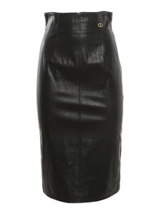 TWINSET - Fake leather longuette in black