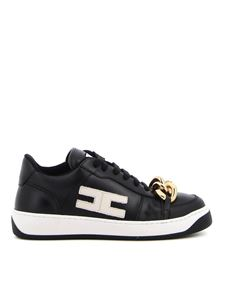Elisabetta Franchi - Chain detailed faux leather sneakers in black