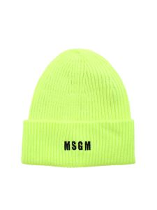 MSGM - Branded knit beanie in fluo yellow