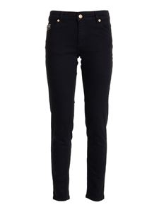 Versace Jeans Couture - Jeans con stampa V-Emblem neri
