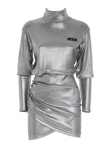 GCDS - Front vent dress in silver color