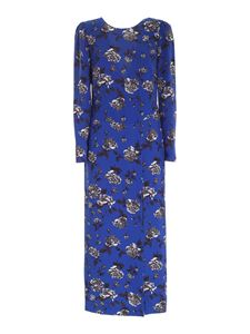 Red Valentino - Roses print dress in electric blue