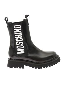 Moschino - Logo printed ankle boots in black