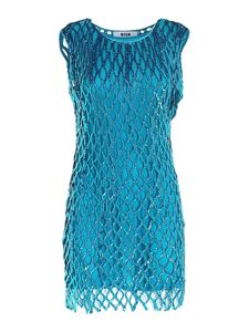 MSGM - Sequined dress in teal blue color