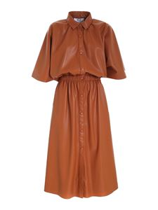 MSGM - Open back dress in tan color