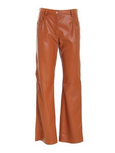 MSGM - Synthetic leather pants in brown