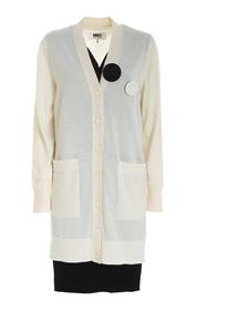 MM6 Maison Margiela - Cardigan dress in ivory color and black