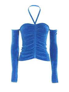 MSGM - Off-shoulders chenille sweater in blue