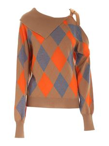 MSGM - Argyle sweater with bow in brown