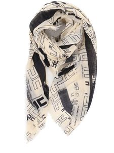 Elisabetta Franchi - Logo printed scarf in butter and black color