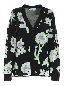 MSGM - Embroidered cardigan in black white and green