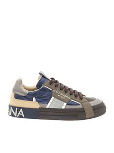 Dolce & Gabbana - Fabric and leather sneakers in green and blue