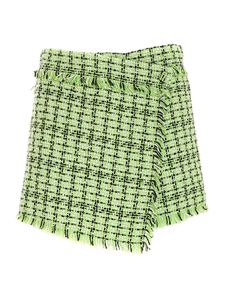 MSGM - Tweed shorts in green white and black