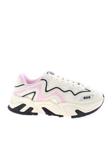 MSGM - Synthetic leather and fabric ivory and pink sneakers