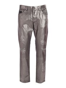 Dolce & Gabbana - Coated jeans in silver and black