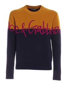 Dolce & Gabbana - Branded sweater in blue and mustard yellow