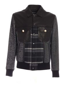 Dolce & Gabbana - Leather and fabric jacket in black and grey