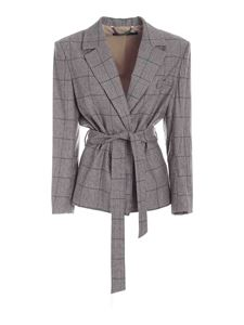 Federica Tosi - Belted Prince of Wales jacket in brown
