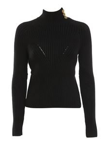 Elisabetta Franchi - Ribbed jumper with gold-tone buttons in black