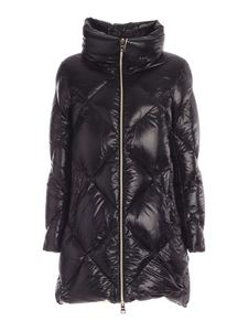 Herno - Quilted branded down jacket in black