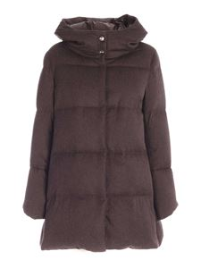 Herno - Silk and cashmere down jacket in brown