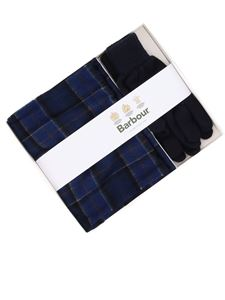 Barbour - Tartan wool scarf and gloves set in blue