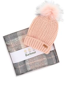 Barbour - Saltburn beanie and scarf gift in pink and gray