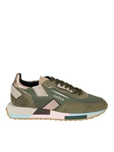 Ghoud Venice - Suede and fabric sneakers in green