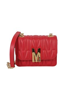 Moschino - Logo quilted leather cross body in red