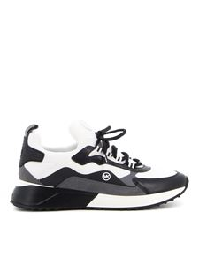 Michael Kors - Leather and fabric sneakers in white and black
