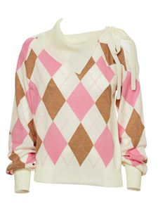 MSGM - Argyle sweater with bow in white