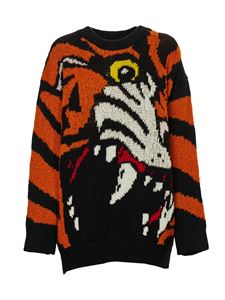 Dsquared2 - Tiger pattern sweater in black and orange