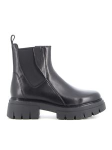 Ash - Links leather ankle boots in black