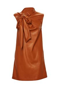 MSGM - Faux leather dress in brown