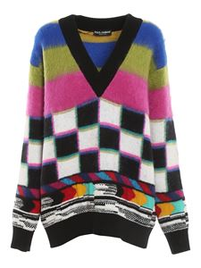 Dolce & Gabbana - Colour block wool blend sweater in multicolor