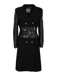 Moschino - Faux leather detailed coat in black