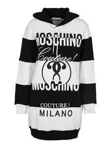 Moschino - Striped hoodie dress in black and white